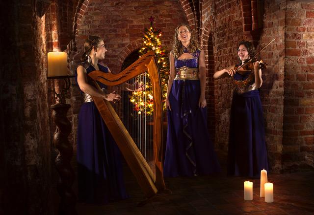Merain - kamermuziek. www.merain.nl - Mirjam, Mieke en Sandra. Harp, zang en viool. Celtisch.
